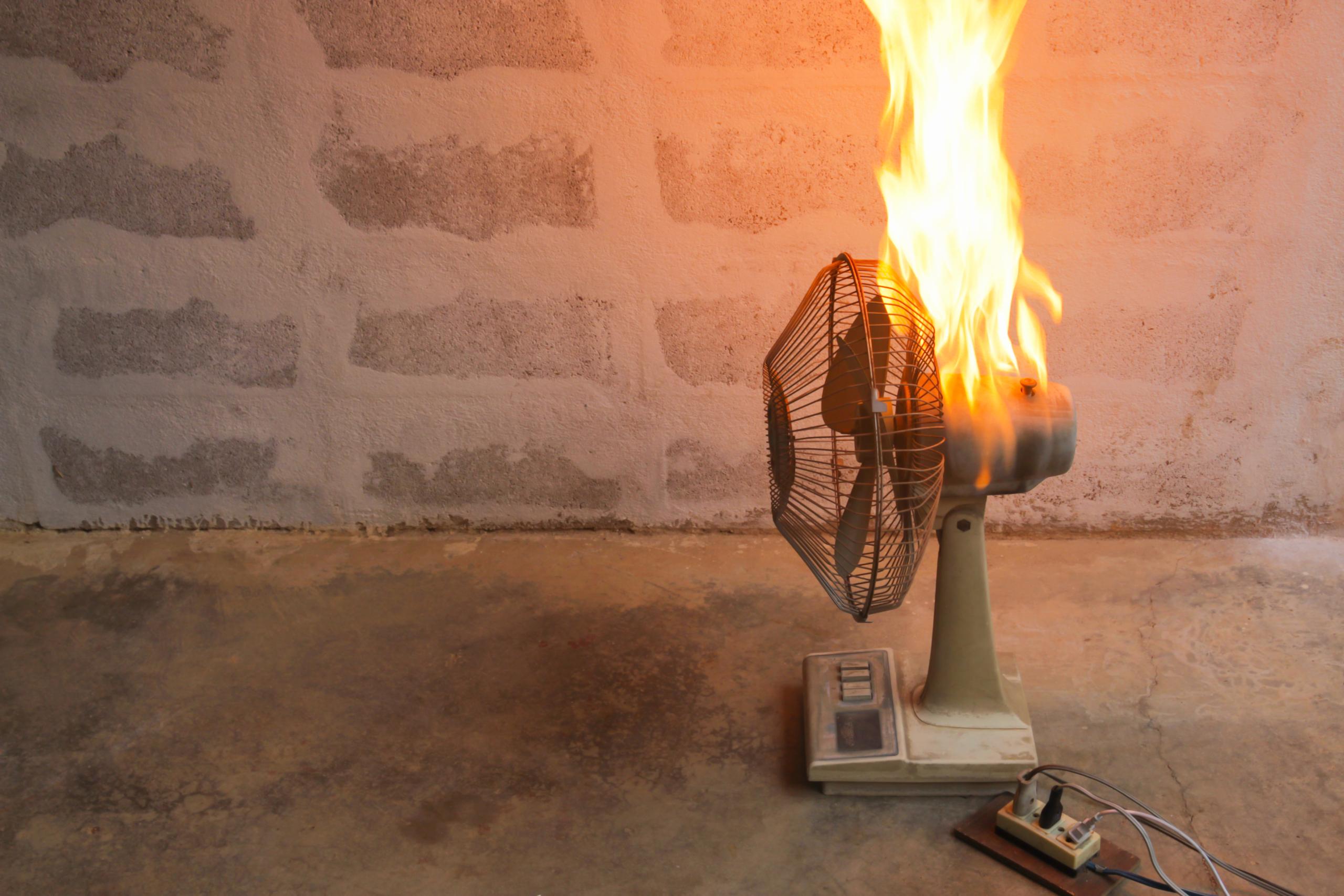 Defective Fan on Fire
